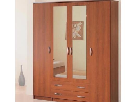 Șifonier din PAL, 200/52/200 cm, nuc, 4 uși, 2 sertare, 2 oglinzi - model BORA