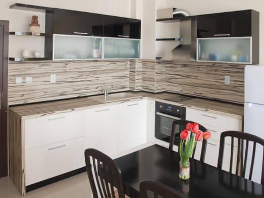 Mobilă de bucătărie pe colț, MDF lucios – model EDEN