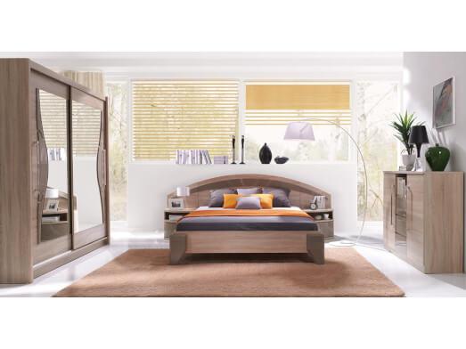 Mobilă dormitor culoare sonoma cu cappuccino - model DOME