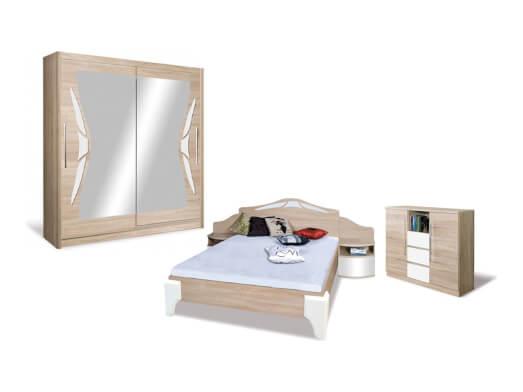Mobilă dormitor culoare sonoma cu alb - model DOME