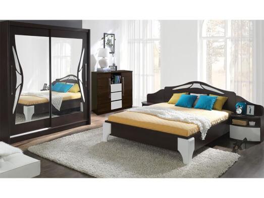 Mobilă dormitor culoare wenge cu alb - model DOME
