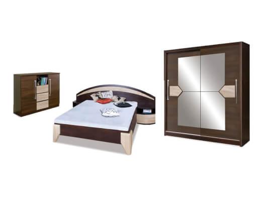 Mobilă dormitor culoare wenge cu sonoma - model DOME