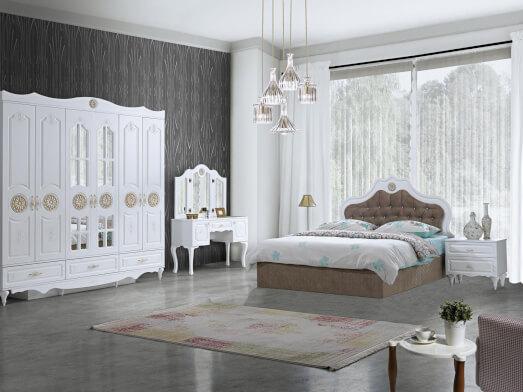 Dormitor clasic din MDF înfoliat cu șifonier în 6 uși - model NEFES