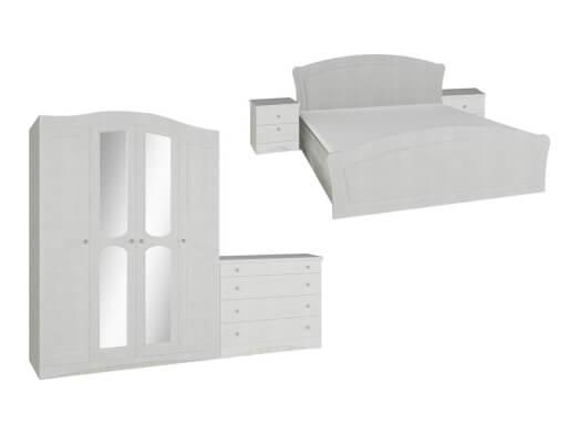 Dormitor din MDF înfoliat alb cu șifonier 4 uși - model VICTORIA