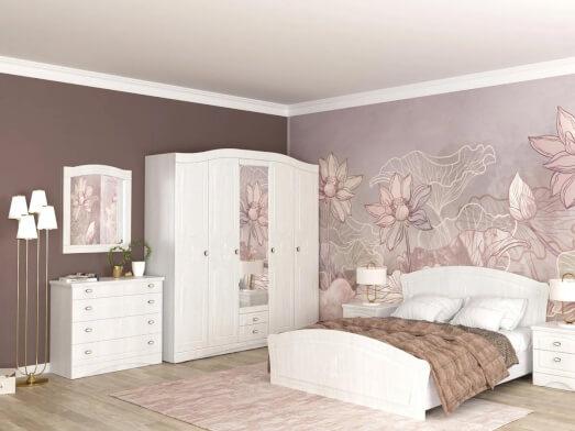 Dormitor complet din MDF înfoliat cu șifonier în 5 uși - model VICTORIA