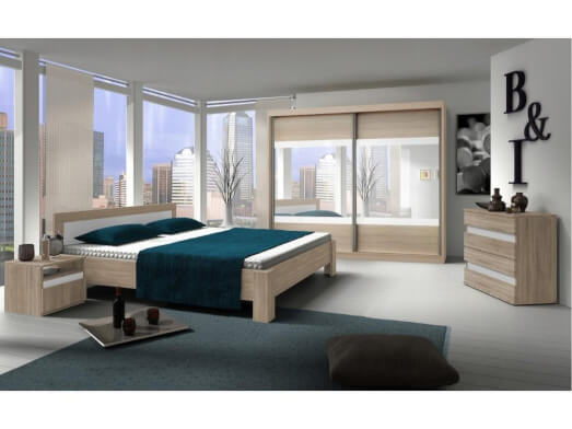 Mobilă dormitor completă, alb - model MEDIOLAN