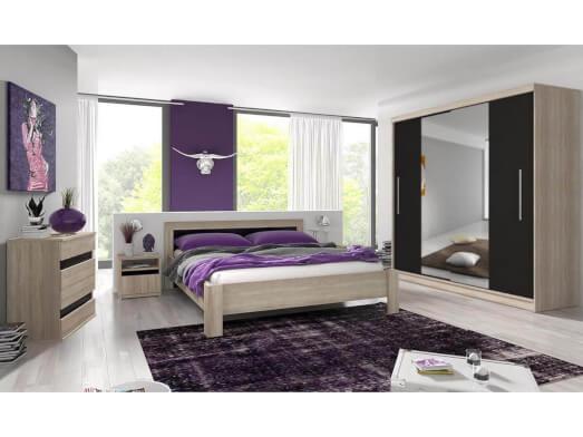Set mobilă dormitor, negru  - model MEDIOLAN