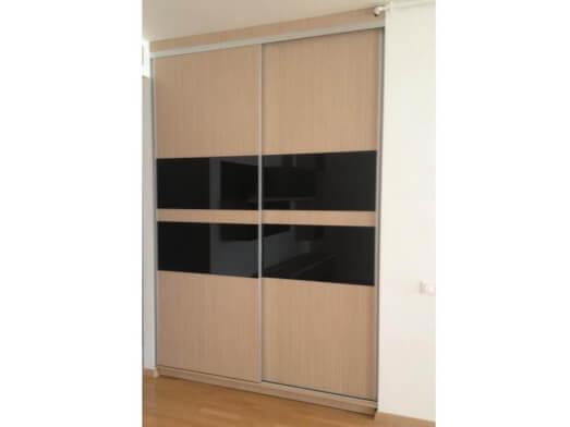 Dressing Store din PAL, 170/60/240 cm, 2 uși, sistem glisare, sticlă neagră, culoare FAG 381