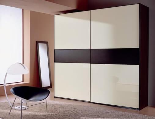 Dressing din PAL, 230/60/230 cm, 2 uși glisante, culoare Wenge + Alb - model Tony