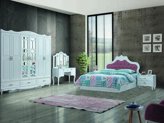 Dormitor din PAL melaminat și MDF alb, cu pat tapițat alb - model INCI