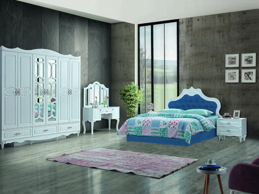 Dormitor din PAL melaminat și MDF alb, cu pat tapițat albastru - model INCI