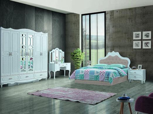 Dormitor din PAL melaminat și MDF alb, cu pat tapițat crem - model INCI