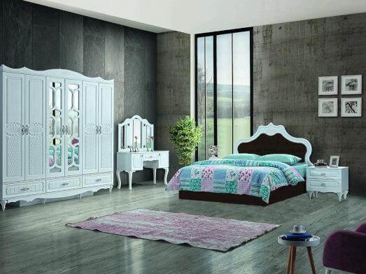 Dormitor din PAL melaminat și MDF alb, cu pat tapițat maro - model INCI