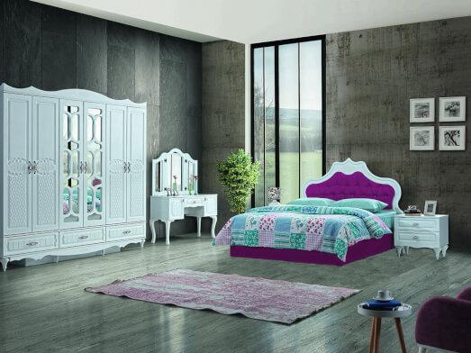 Dormitor din PAL melaminat și MDF alb, cu pat tapițat roz - model INCI