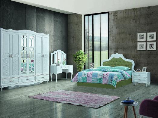 Dormitor din PAL melaminat și MDF alb, cu pat tapițat verde deschis - model INCI