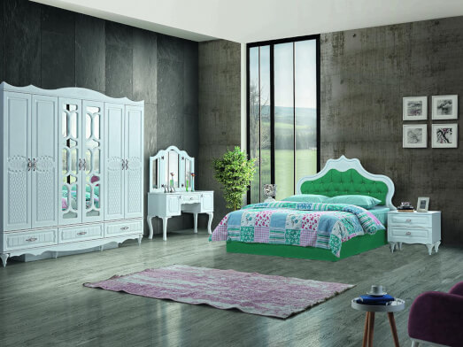 Dormitor din PAL melaminat și MDF alb, cu pat tapițat verde smarald - model INCI