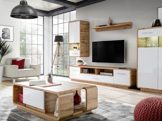 Mobilă living cu colțuri rotunjite - model SKANSO