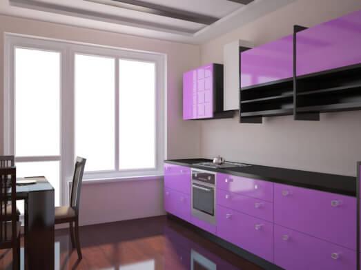 Mobilier bucătărie din MDF vopsit lucios - model RAISA