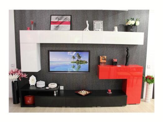 Mobilă living PAL lucios roșu și alb, PAL melaminat negru - model AMBRA