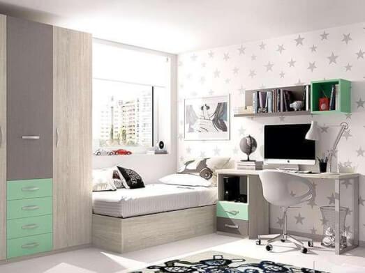 Mobilă pentru camera de copii - model MOBI GRI VERDE