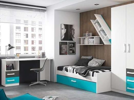 Mobilier pentru copii, alb cu gri și turquoise - model MOBI
