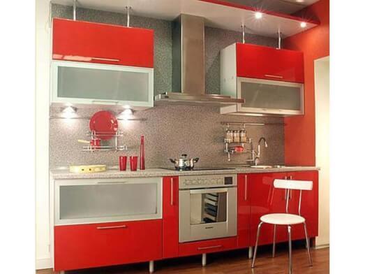 Mobilă bucătărie, MDF lucios și sticlă sablată - model RED