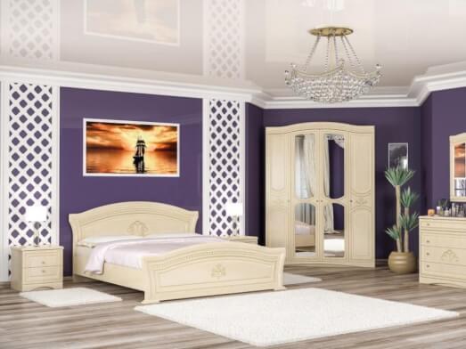 Mobilă dormitor MDF crem, set complet - model MILANO